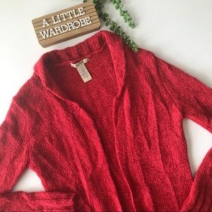 Free People Red Mohair Long Duster Cardigan